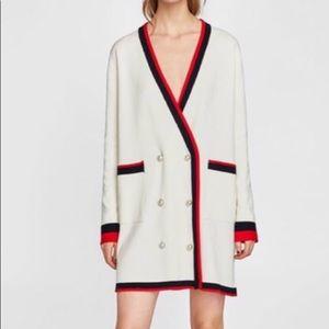Zara white long cardigan